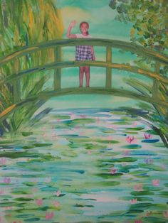 In Monet's Garden: MaryMaking: July 2010: Photos of kids waving. Watercolor wash water & sky. Use two colours for dimension. While still wet add lily pads and water reflections and lush foliage in backgroundl Double & triple load brushes in blues, greens and yellow to mimic Impressionist effect. Cut bridges from color paper that has been lightly painted over to blend with the painting (3 arches, 4 rectangle uprights). Cut out photos and slip behind bridge before gluing top arches.
