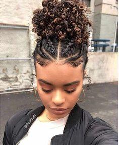 Cute Curly Hairstyles, Baddie Hairstyles, Black Women Hairstyles, Protective Hairstyles, School Hairstyles, Hairstyles For Naturally Curly Hair Black Women, African Hairstyles, Wedding Hairstyles, Braids For Curly Hair