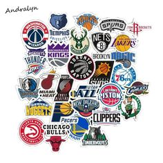 Best Price 32Pcs/Lot PVC Waterproof NBA Club Logo Sticker For Laptop Trunk Skateboard Fridge Phone Decal Car-Styling Toy Stickers