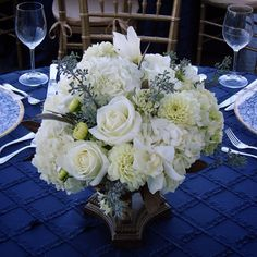 #c2mdesigns #floral #floraldesign #centerpiece #navy #pintuck #white #elegance #style #formal #hydrangea #roses #dahlia #cymbidium #orchids #corporateevent #wedding #boston #jfklibrary #nxtevent #designsthatrock #likeC2MdesignsFacebook Designer: #christinemccaffery