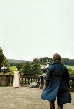 Mr. Darcy confronts Elizabeth Bennet as she tries to slip out of Pemberely unnoticed. -Pride and Prejudice, directed by Joe Wright.
