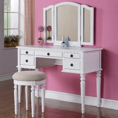 Vanity Set with Stool in White