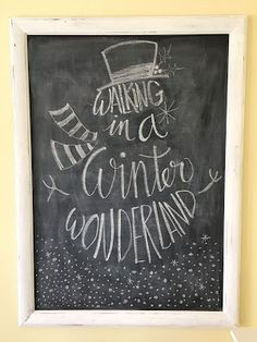 Walking in a winter wonderland chalk drawing, Christmas chalkboard