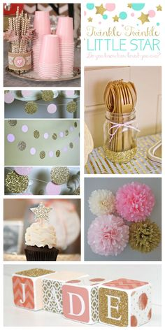 Kayleigh's baby shower? Twinkle theme with sparkly pink/gold (maybe mint?) decorations; Gold sparkly star cupcake toppers w/white or pink icing and gold cupcake wrappers;  white chocolate dipped strawberries with gold drizzle; mason jar dipped in gold glitter to hold utensils; make blocks for Everly that can be used in her room after the shower