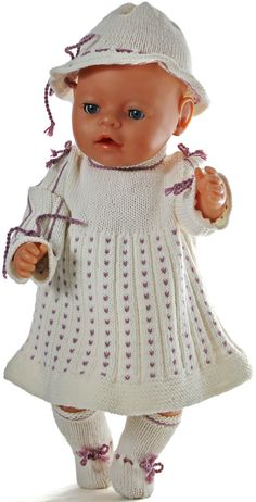 Målfrid Gausel nydelige design strikkeoppskrifter dukkelær for Baby born og andre dukker