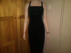 CDC Petites sparkly black velvet full length stretch dress size 6