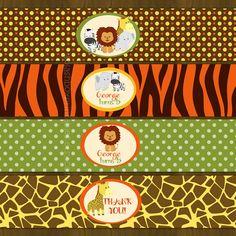 Etiquetas de botella de agua selva Safari por SplashboxPrintables Safari Party Foods, Safari Theme Party, Lion Birthday, Jungle Theme Birthday, Jungle Party, Safari Decorations, Monster Birthday Parties, Animal Party, Baby Shower Themes
