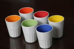 Set of 6 Ceramic Tea Glass each with different color