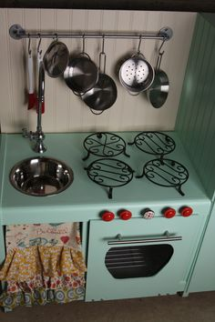 Play kitchen DIY. Amazing before and after.