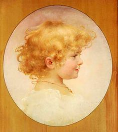 """""""Portrait of a Girl"""" -- by Franz Dvorak (American, 1862 – Primary And Secondary Colors, Round Canvas, Beauty In Art, Beautiful Fruits, Painting Of Girl, Art Academy, Teal And Gold, Shades Of Yellow, Heart Art"""