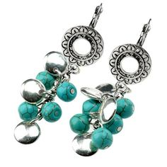 Amazon.com: StarrY Beads Turquoise Hollow Flower Dangle Earrings: Jewelry