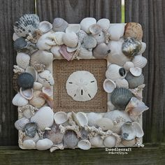 Seashell Memory Frame Keepsake! Great way to use that collection of shells from the beach! :)