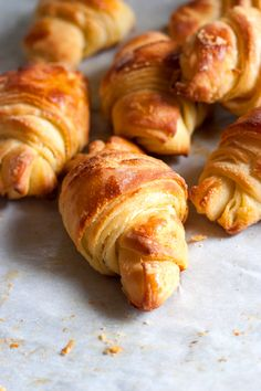 """Homemade Croissants.     Ever since my French teacher told me that """"real"""" French croissants are nothing like American croissants, I've wanted to make my own. This recipe looks like it could be a good one."""