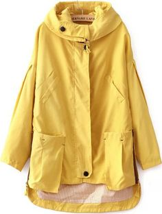 Buy Yellow Hooded Long Sleeve Pockets Coat from abaday.com, FREE shipping Worldwide - Fashion Clothing, Latest Street Fashion At Abaday.com