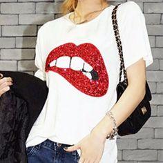 Cheap Mujeres Sexy Sequin impresión de labios rojos nuevas camisetas de algodón camisetas de manga corta para camiseta M XL 89, Compro Calidad Camisetas directamente de los surtidores de China:   Mujeres Sexy Casual Camisetas lentejuelas Labios Imprimir blusa de manga corta Tops camisa M-XL 100% nuevo y de alta c