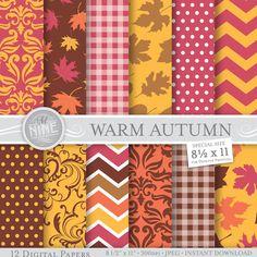 "WARM AUTUMN Digital Paper Fall 8 1/2"" x 11"" Pattern Prints, Instant Download, Fall Leaves Backgrounds Print Chevron Damask Pattern"