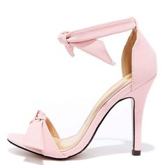 Belle Epoque Light Pink Nubuck Ankle Strap Heels ($19) ❤ liked on Polyvore featuring shoes, pumps, heels, pink, pink shoes, bow heel pumps, pink pumps, pink heeled shoes and pink bow pumps