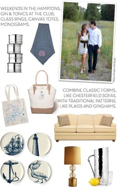 a preppy wedding registry for a preppy couple