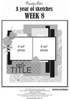 Winners and Sketch a Week Scrapbook Layout Sketches, Scrapbook Templates, Card Sketches, Scrapbooking Layouts, Scrapbook Cards, Square Photos, 2 Photos, Page Maps, Photo Layouts