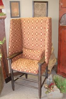 Here's one of our Primitiques' Upholstered Make Do Chairs in lover's knot fabric (woven right here in PA). We have about 10 different styles of upholstered Make Do's for the early-look home!