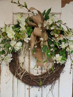 Items similar to BEST SELLER Front door wreath, Greenery Wreath - Wreath Great for All Year Round, Everyday Burlap Wreath, Door Wreath, Front Door Wreath on Etsy Wreath Hanger, Diy Wreath, Grapevine Wreath, Wreath Burlap, Burlap Ribbon, Tulle Wreath, Wedding Wreaths, Wedding Flowers, Outdoor Wreaths