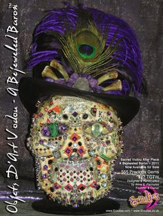 Hoodoo Magick Rootwork: A real OOAK Conjure fetish.a Baron Samedi skull encrusted with precious gemstones, a Voodoo Doll designed, handcrafted, and with jewels all handset by Anna, the owner of Erzulie's. Voodoo Hoodoo, Voodoo Spells, Voodoo Halloween, Baron Samedi, New Orleans Voodoo, Thing 1, Green Diamond, Gods And Goddesses, Skull Art