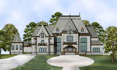 Cheverny House Plan - Front Rendering