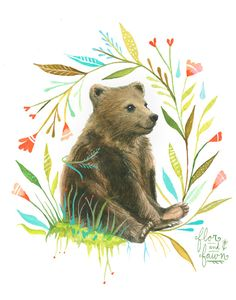 Bear Art Print Watercolor Painting Nursery by FlorandFawn