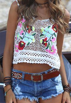 Top Floral Guipir Vazado » Blusas