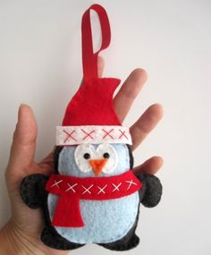Penguin Christmas Ornament, Felt Penguin Christmas Ornament A217 | MariaPalito - Seasonal on ArtFire