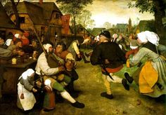 The Peasants' Dance, Netherlands, late 1500s. Painted in 1568 by by the Flemish painter Pieter Bruegel. Painting is in the Kunsthistorisches Museum in Vienna.