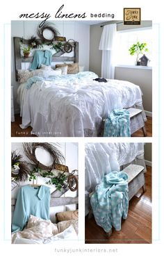 A messy dreamy bed made up with loose linens and white sheets you already have on hand. Fun and easy!  via Funky Junk Interiors #justbecauselinkupparty