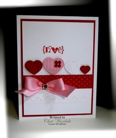 Using Stampin' Up! Valentine Defined retired stamp set and SU Fashionable Hearts embosslits.