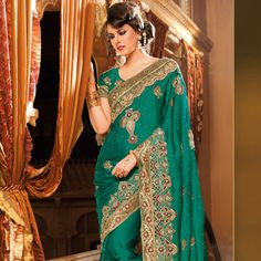 Teal Green Faux Satin Chiffon #Saree with Blouse Online Shopping: SYC2026