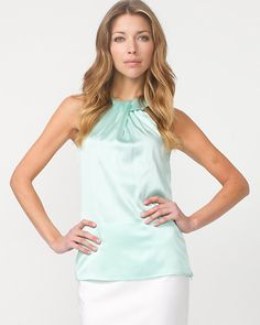 Silk Blend Mock Neck Blouse