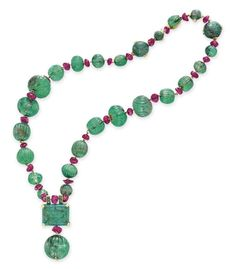 AN EMERALD AND RUBY BEAD NECKL