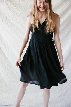 Pip-Squeak Chapeau Gathered Wrap Dress Black Cotton Gauze