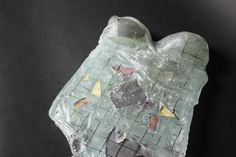 Glass Sculpture.  Mix of plate, bottle and bullseye glass with wire, mesh, copper and brass inserts.