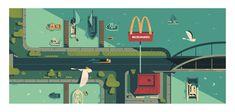 MC DONALDS - Colin Bigelow Animation Background, Environment, Inspiration, Design, Backgrounds, Illustrations, Biblical Inspiration, Illustration, Design Comics