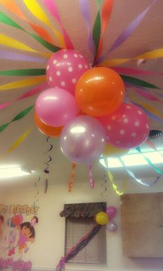 The centerpiece balloons from the Dora party