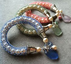 SoftFlexGirl: DIY Knitted Soft Flex Beading Wire Bangle with Sea Glass & Pearls in 3 Color Ways