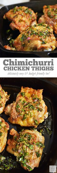 Chimichurri Chicken Thighs | by Life Tastes Good are easy to make, budget-friendly, and loaded with fresh flavors! The fresh herb Chimichurri Sauce has a slightly sweet, slightly tangy flavor that pairs nicely with the savory Pan-Roasted Chicken Thighs. #LTGrecipes #SundaySupper