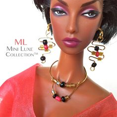 Gold Doll Necklace with Fuchsia and Black by MiniLuxeCollection