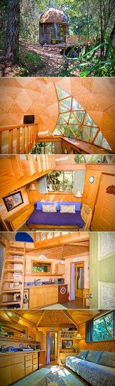 Meet Kitty Mrache's Mushroom Dome Cabin, a tiny and cozy DIY geodesic dome loft that has amassed the most bookings (and a five-star rating) on the site—and is so popular that even her kids have to make a reservation to stay a night. Nestled in the Redwoods of Aptos, California, Airbnb's most popular rental may look modest on the outside, but its warm hospitality, enchanting interior, and gorgeous surroundings keep drawing people back.