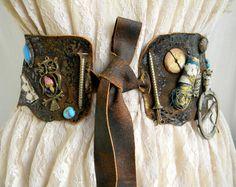Waist Leather Belt Sash, steampunk, gothic, upcycled, pirate, brown, applique, steampunk wedding, buckle, wearable art, owl, aqua, blue. $86.00, via Etsy.