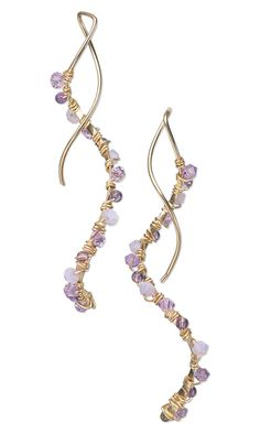 Earrings with Swarovski Crystal Beads, Amethyst Gemstone Beads and Wire Wrap