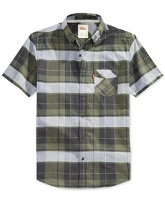 Levi's adds classic-cool to your closet with this sharp plaid-pattern short-sleeve shirt for men.   Cotton   Machine washable   Imported   Point collar   Front-button closure   Short sleeves   Butto