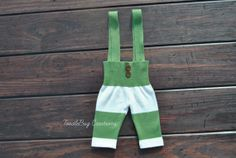 Newborn Photography Suspenders  Upcycled green and cream striped overalls by ToodleBugCreations, $23.00