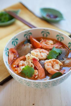 15-Minute Tom Yum Noodle Soup, your favorite Thai soup is easier to make than you think and takes only 15 minutes. Add some noodles and you have an amazing meal. http://rasamalaysia.com