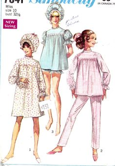 1960's Baby Doll Pajamas Nightshirt Shorts and by Sutlerssundries